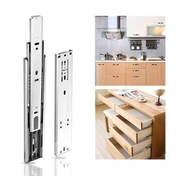 2 Piezas 3 Etapas Suave Silencio Cajón Pista Deslizamiento Guías Riel Muebles Accesorios Acero Inoxidable Cocina Armario Cajón Hardware