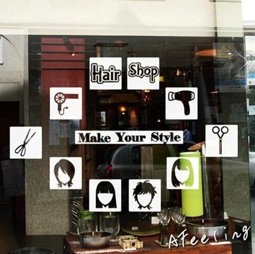 Hair Barber Shop Store Salon Window Wall Sticker Door Window Decoration  Sticker Make Your Style Advertising