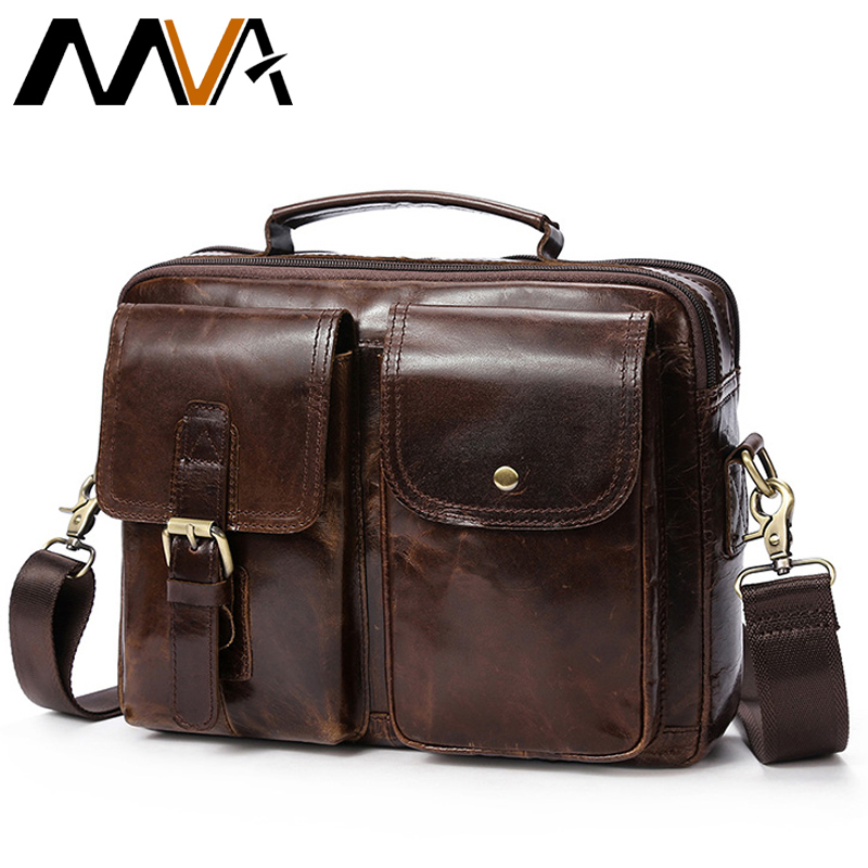 MVA Messenger Bag Men's Genuine Leather Shoulder Bags Male Top-handle man Hasp Casual Leather Men Crossbody Bags for men 8114 цена