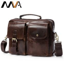 MVA Messenger Bag Men's Genuine Leather Shoulder Bags Male Top-handle man Hasp Casual Leather Men Crossbody Bags for men 8114