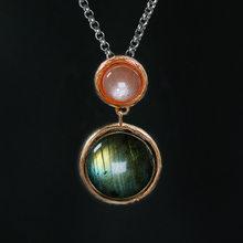 cd98d563af6a INATURE 925 plata esterlina Natural labradorita colgante collar para mujer  joyería Bijoux