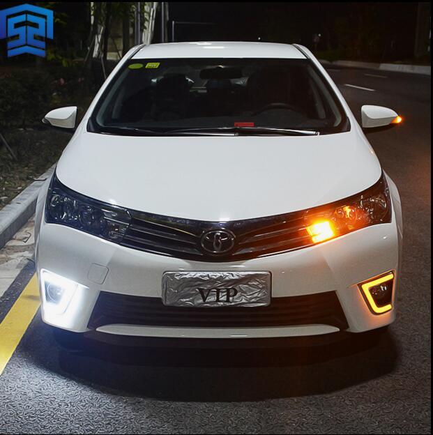 ФОТО Hireno Car LED DRL Waterproof ABS 12V Daytime Running Lights for Toyota Corolla 2014 Fog lamp 2PCS