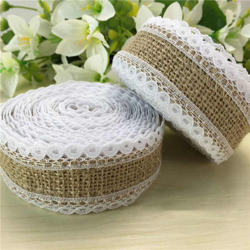 1Roll 5meter Vintage Lace Edged Hessian Fabric Burlap Ribbon Rustic Wedding Party Decor Festive DIY Decoration HB018