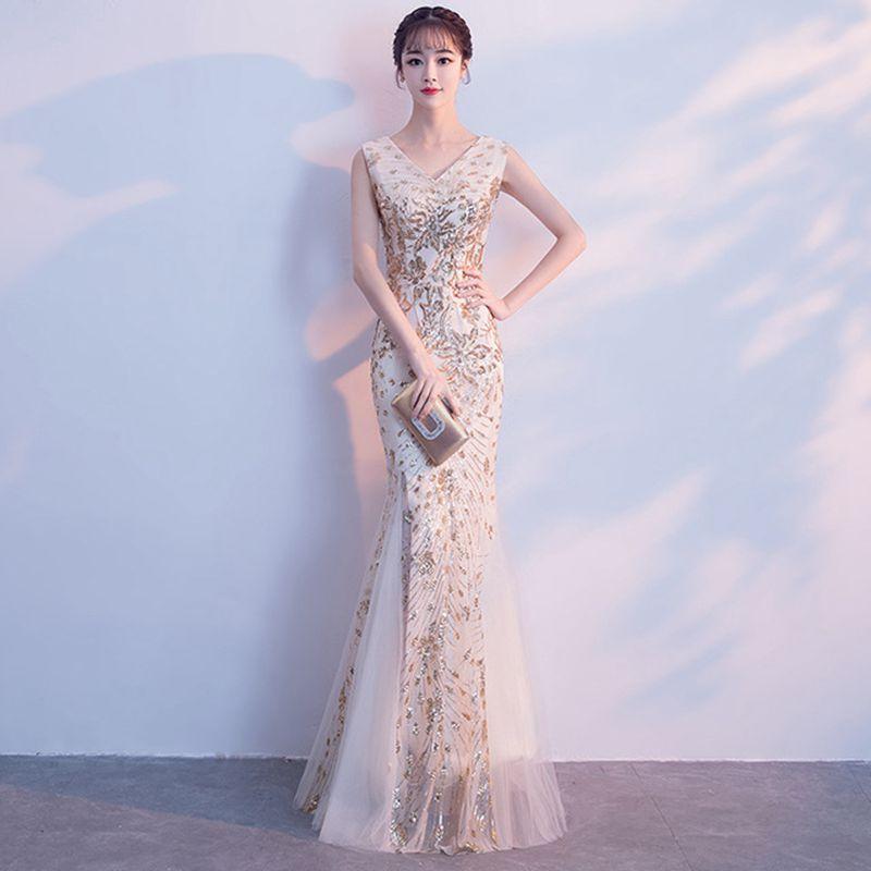 Champagne sirène Qipao femmes soirée robe robes élégantes pleine longueur Bling robes v-cou Cheongsam vêtements Sexy