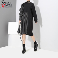 2018 Spring Women Patchwork Style Black Blue Striped Dress Long Sleeve One Shoulder With Ruffles Girls