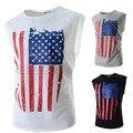 Nuevos 2016 camiseta exquisita sin mangas delgado de la bandera americana de impresión camiseta delgada de la raya