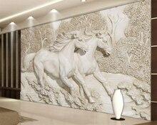 Купить с кэшбэком Custom photo wall mural wallpaper Embossed white horse sofa background wallpaper for walls 3 d carta da parati  beibehang