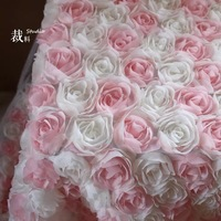 pink and biege Rosette Fabric, Baby Photography Prop Backdrop, 3D chiffon rosette fabric, wedding table cloth