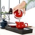 Индиго Глазурь Фарфоровая чайная чашка Tureen  Китайская красная крышка чаша фарфоровый горшок набор для путешествий красивый чайный набор ...