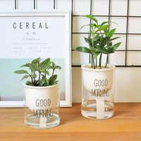 Pot de jardinière d'arrosage automatique 1 pc Pot de fleurs en céramique avec récipient d'eau en verre pour plantes vertes plante succulente Cactus