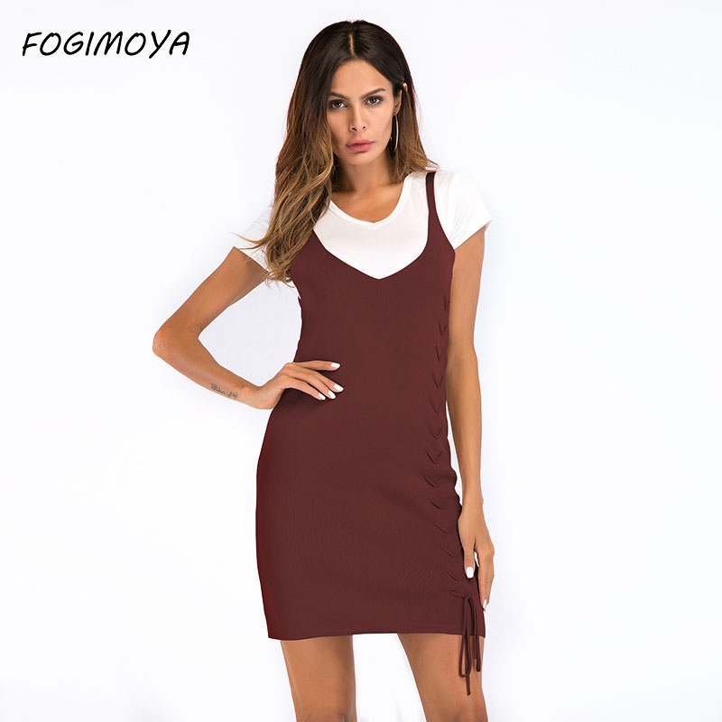 FOGIMOYA Dress Women 2018 Summer Solid Kniiting Strap Dress Women's Sexy Off The Shoulder Strap Dresses Bandages Mini Dresses