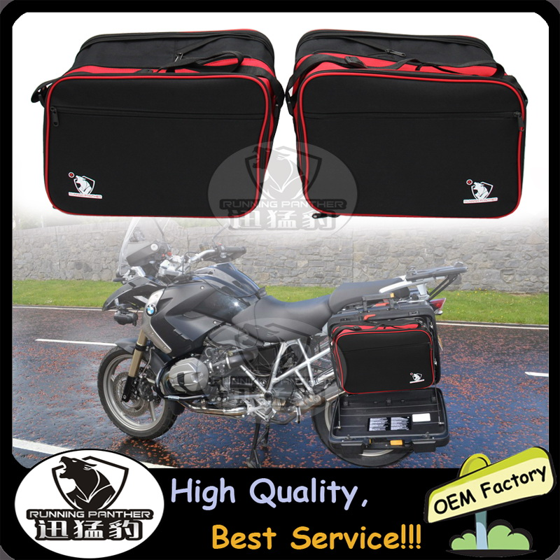RUNNING PANTHER BRAND LOGO Pannier Liners Bags Inner Bags Fits For BMW R 1200 RT K 1200 GT K 1300 Gt R1200R Expandable Black Red