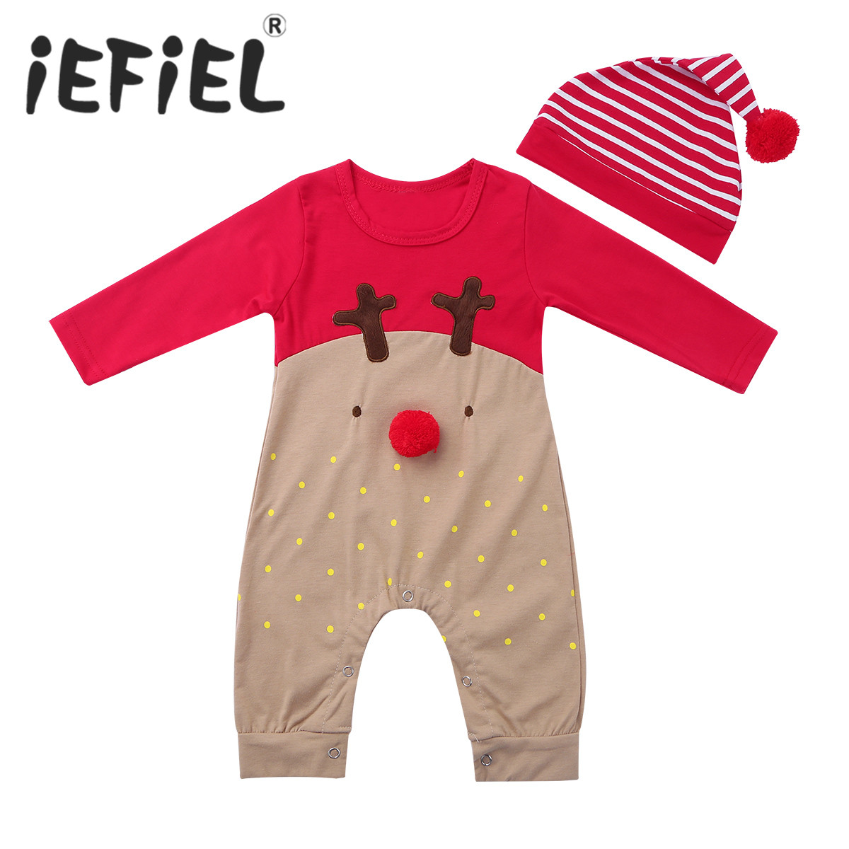 Christmas Reindeer Jumpsuit Bodysuit Xmas Costume Dress Up for Girl Boy Baby