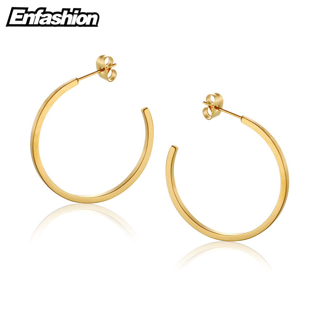Enfashion Vintage Large Circle Hoop Earrings Matte Gold color Big Earings Stainless Steel Hoops Earrings For Women Jewelry bamboo big hoop earrings