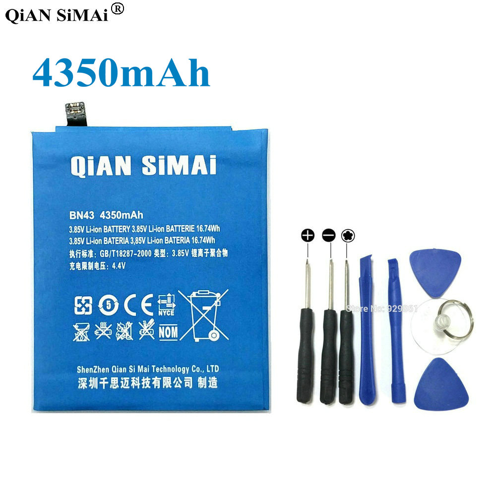 QiAN SiMAi New BN43 4350mAh Battery & Repair Tools Replacement For Xiaomi Redmi Note 4X phone + Tracking Code