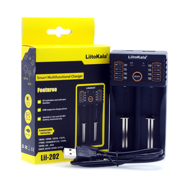 Liitokala Lii402 Lii202 Lii100 LiiS1 18650 ładowarka 1.2V 3.7V 3.2V AA/AAA 26650 NiMH akumulator litowo-jonowy inteligentna ładowarka 5V 2A ue wtyczka