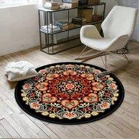 Retro European Round Mandala Flower Carpet Living Room Coffee Table Bedroom Room Hanging Basket Round Blanket Home Simple Compu