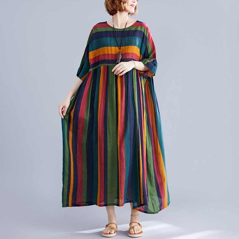 Хлопок, плюс размер, винтажная полоса, женское повседневное Свободное длинное летнее платье, элегантная одежда 2019, женские платья, сарафан