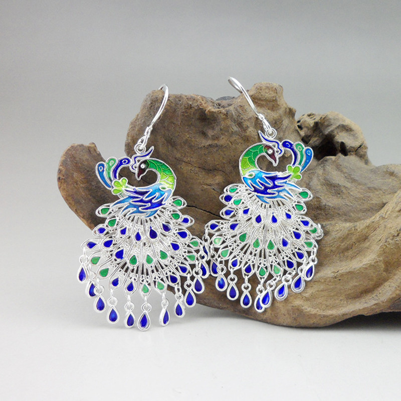 Wedding Gifts For Guests Ethnic Earing Jewelry Miao Sterling Silver Big Drop Blue Earrings Peacock Feather Women's EaringsWedding Gifts For Guests Ethnic Earing Jewelry Miao Sterling Silver Big Drop Blue Earrings Peacock Feather Women's Earings