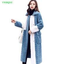 369bed84eb Plus rozmiar zima kobiety moda długie wełniane płaszcze raglanowe rękawy  Stitch wełniana kurtka z imitacji Iamb