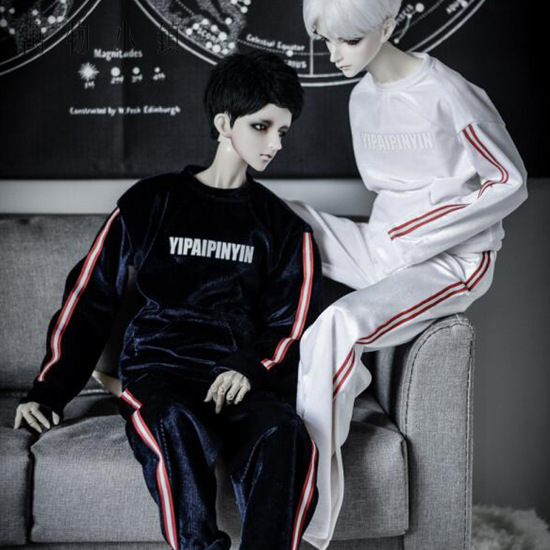 New Fashion striation white pleuche Sport suit Uncle 1/3 1/4 Boy SD10 Girl BJD SD Doll Clothes new handsome fashion stripe black gray coat pants uncle 1 3 1 4 boy sd10 girl bjd doll sd msd clothes