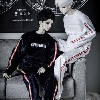 New Fashion striation white pleuche Sport suit Uncle 1/3 1/4 Boy SD10 Girl BJD SD Doll Clothes