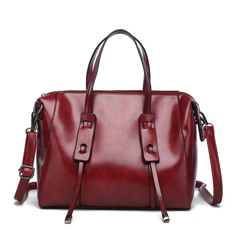 Módní olejová kůže Luxusní taška přes rameno Pu Kožená dámská ... 0dbe1541fe4