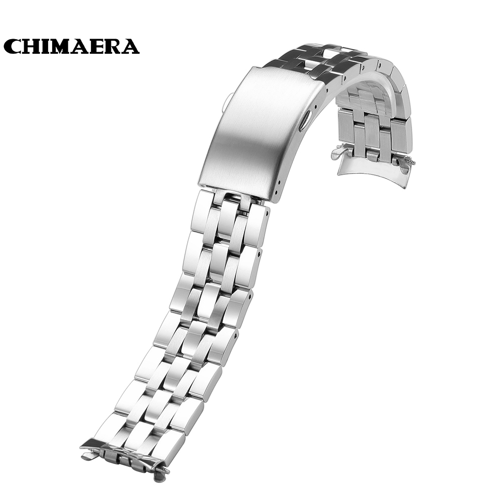 CHIMAERA 19mm 316L Stainless Steel Strap Curved End Metal Bracelet Watch Band Watchband belt for Tissot <font><b>PRC</b></font> <font><b>200</b></font> Women Men image