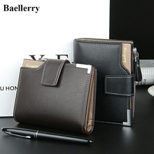 Baellerry Brand Leather Wallets Men Short Hasp Casual Black Zipper Coin Purses Male Money Bags Credit Card Holder Clutch Wallets