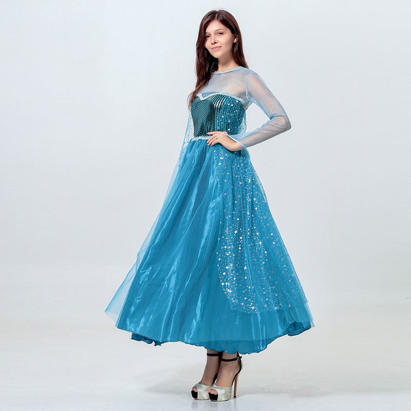 High Quality Movie Elsa Princess Cosplay Clothing Cinderella Fancy Dress Adult Women Ball Gown Halloween Costume
