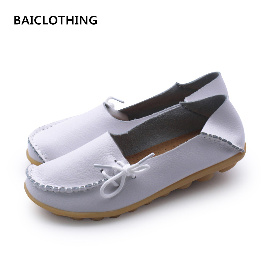 BAICLOTHING women casual real genunie leather flats lady spring summer slip on flat shoes female comfortable round shoes sapatos cresfimix women cute spring and summer slip on flats sapatos femininas female black soft pu leather comfortable flat shoes