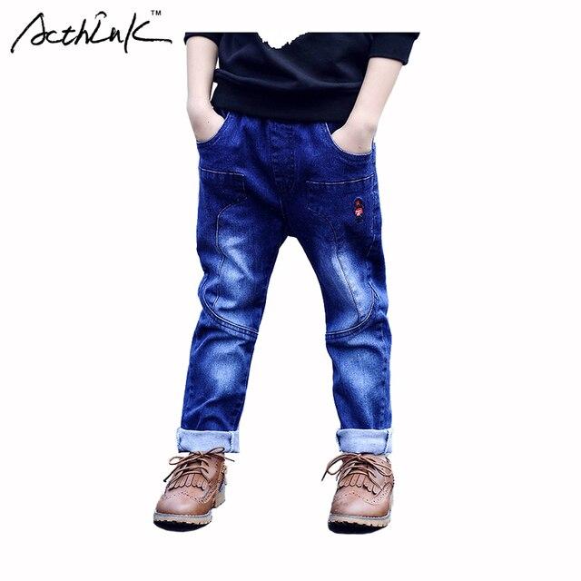 ActhInK Мальчики Новый Солдат Вышивка Хлопок Джинсовые Дети Сплошной Синий Длинные Брюки Марка Корейская Одежда Мальчики Открытый Брюк, MC106