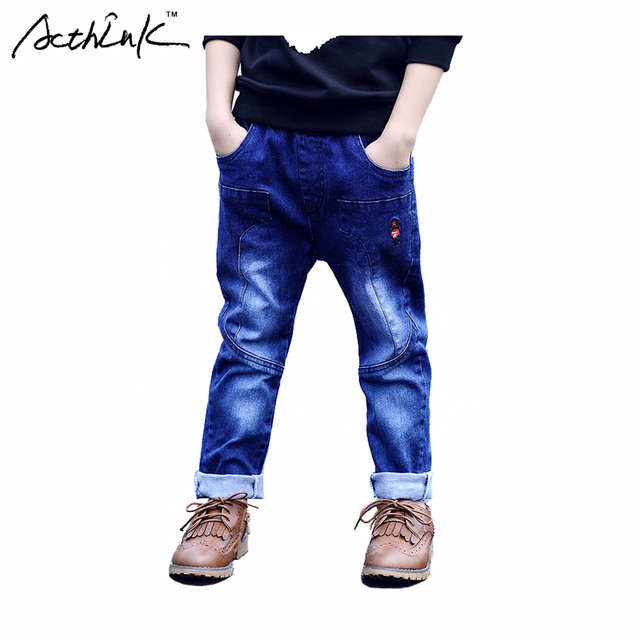 ActhInK Boys New Soldier Embroidery Cotton Denim Jeans Kids Solid Blue Long Pant Brand Korean Clothes Boys Outdoor Trouser,MC106