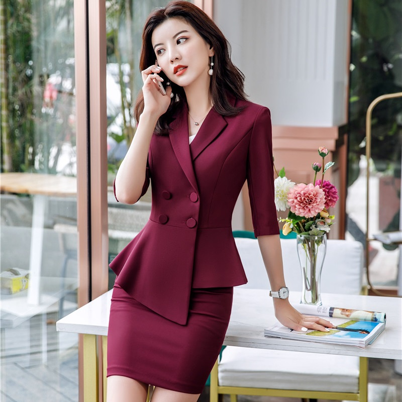 Novelty Maroon Red Business Suits With Tops And Skirt For Ladies Office Women Formal Blazers Professional 2019 Summer Sets