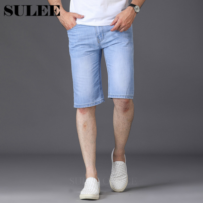 SULEE Brand 2019 Summer New Men's Denim Shorts  Fashion Casual Slim Fit Elastic Jeans Short Male Brand Clothes