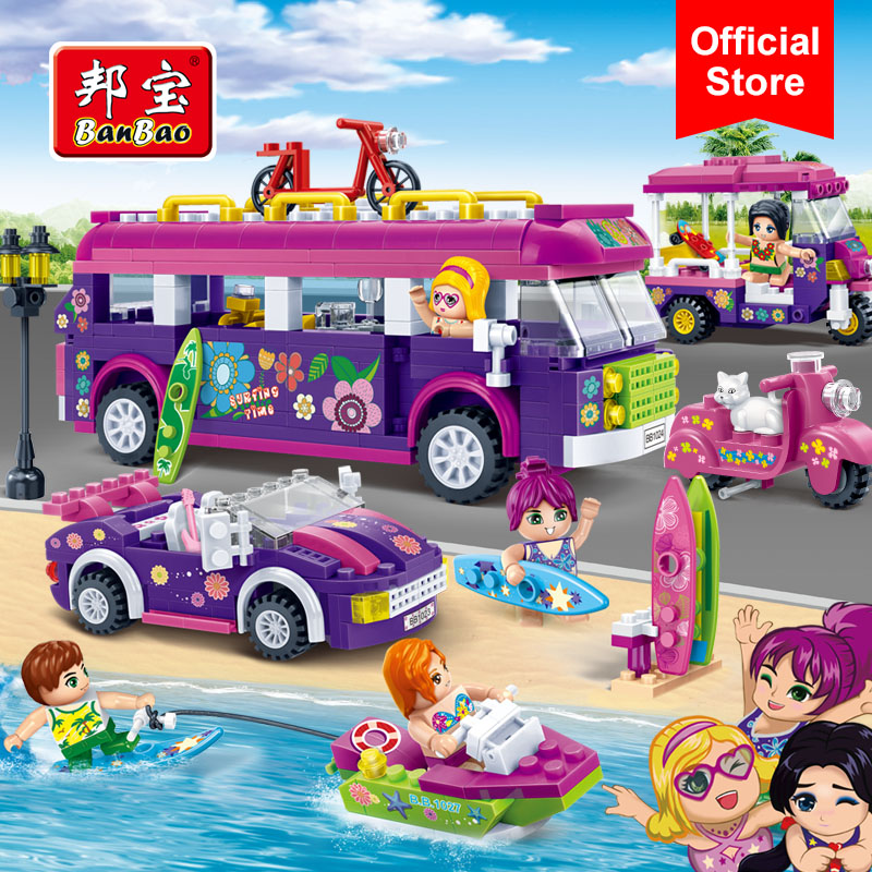 BanBao Girls Educational Building Blocks Bus Car Yacht Happy Journey Seaside Holiday Model Toy Children Kids