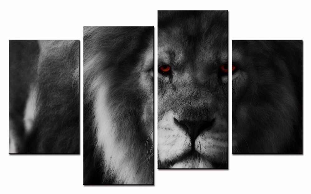 Горячее Обрамление 4 шт./компл. Реалистичная серия льва настенное искусство для декора стен картина для оформления Дома Краска на холсте Печать краска ing