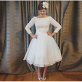 Elegant White Scoop Lace Cheap Short Wedding Dresses Plus size 2016 Knee-Length Wedding Gown Vestido de noiva Robe de mariage