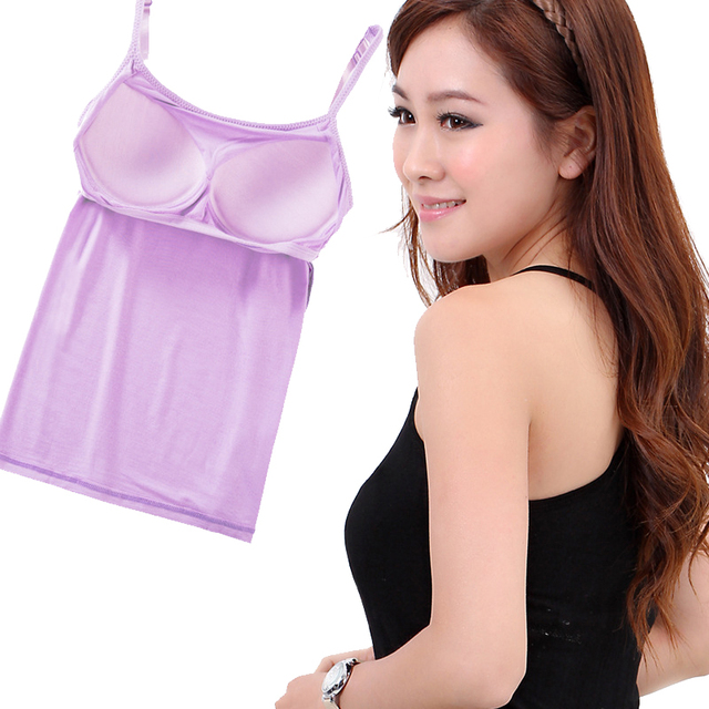 cb7e485e0155d Fashion Adjustable Strappy Built In Soft-cup Push-up Bra Tank Tops Women  Sexy
