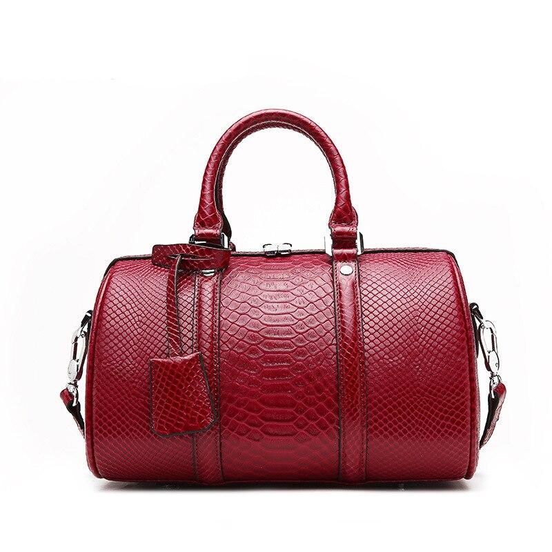 Elegant Plain Serpentine Design Speedy Boston Bag Genuine Cow Leather Female Handbag High Quality Tote Bag Silver Metal