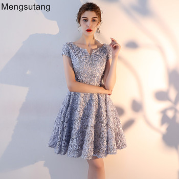Robe de soiree New Arrival Gray Lace short evening dress vestido de festa prom dresses party dresses tailor Custom made