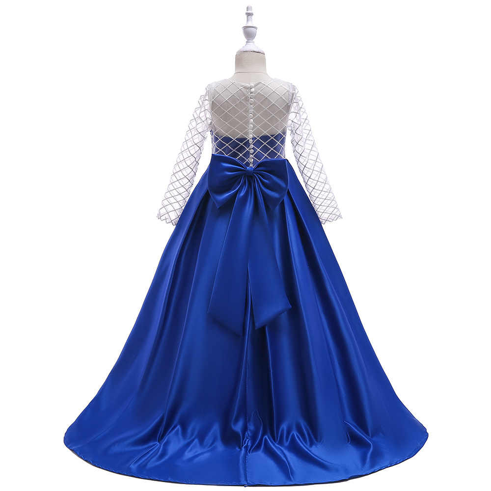 7349cf01da2f1 Checked Mesh Long Sleeve Children Evening Dresses Long Kids Blush Pink Blue  and White Formal 4 To 12 14 Year Old Girls Dress