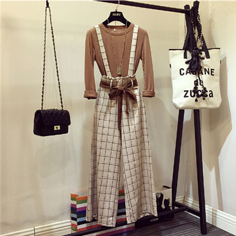 2019 Spring New Ladies Casual Long Sleeve Basic Shirt + High Waist Plaid Strap Wide Leg Pants Women Two Piece Pants Sets