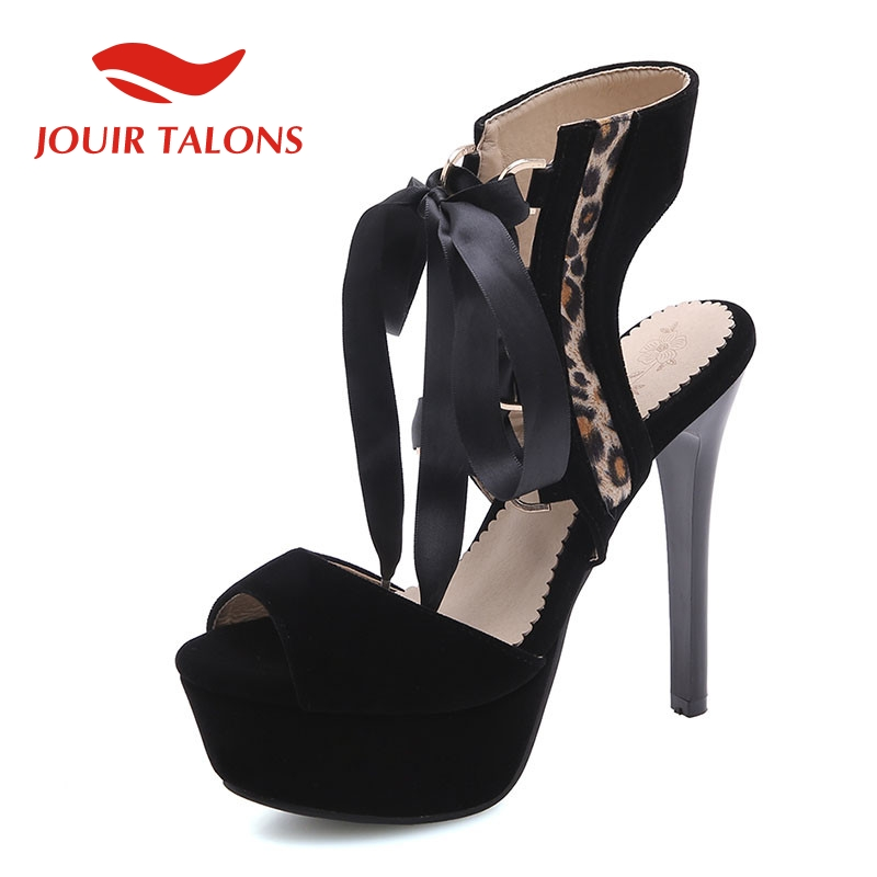 JOUIR TALONS Brand Big Size 34 43 Ladies High Heels Platform Leopard Lace Up Shoes Woman Casual Party Ol Sexy Summer Sandals