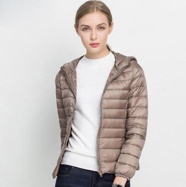 Winter Women Ultra Light Down Jacket White Duck Down Hooded Jackets Long Sleeve Warm Coat Parka Female Solid Portable Outwear 2