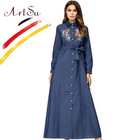 ArtSu Elegant Women Floral Embroidery Maxi Dress Belted Long Sleeve Turn Down Collar Button Plus Size Tunic Robe Longue Femme