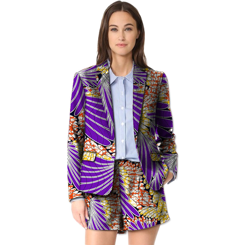 Africa Print Women Suit+Short 2 Pieces Set Festive Ladies Straight Shorts With Long Sleeve Suit Jacket Tailored Festive Costume