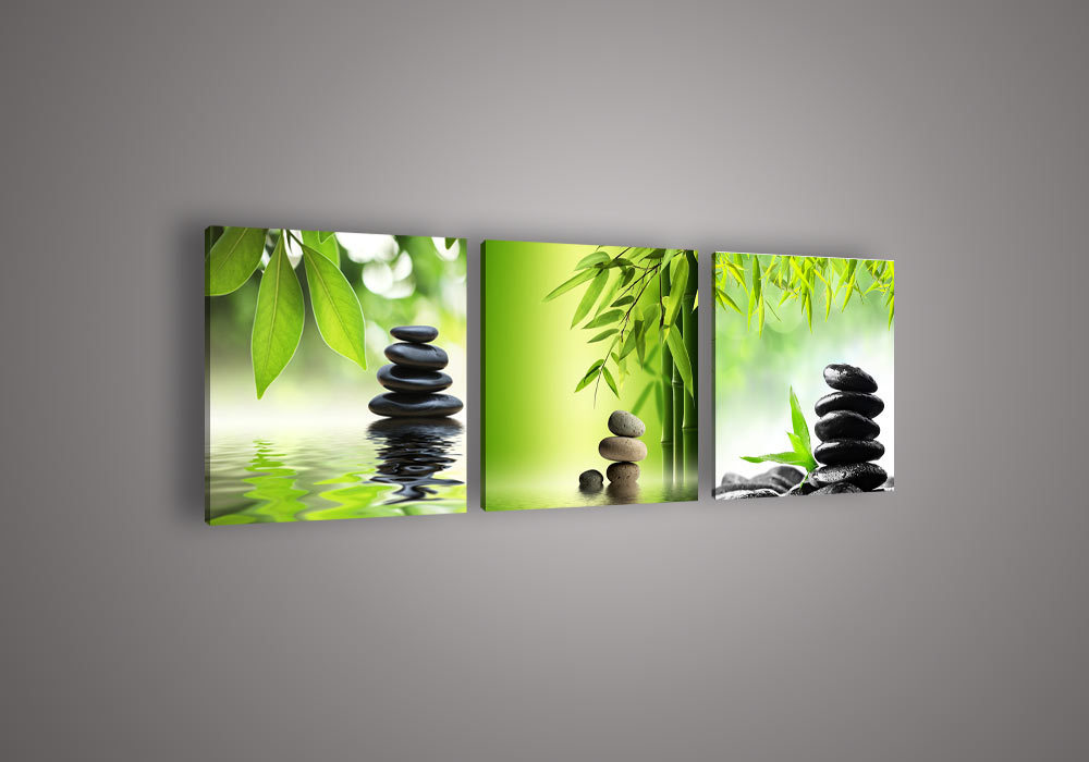 3 Piece Wall Art Botanical Feng Shui Green Picture Oil Painting On ...