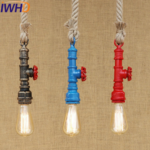 IWHD Loft Style Iron Water Pipe Pendant Light Fixtures Hemp Rope Edison Vintage Industrial Lighting Dining Room Hanging Lamp