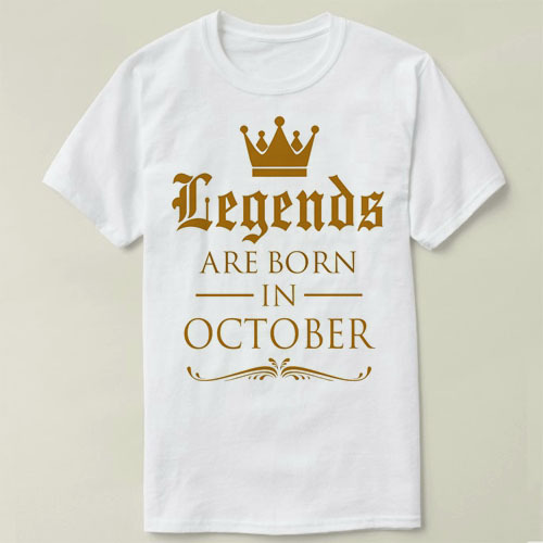 Order Custom T Shirts Crew Neck Men Short Sleeve Office Design Ing Legends Are Born In October Birthday Tee